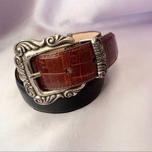 Vintage Brighton Leather & Silver Belt